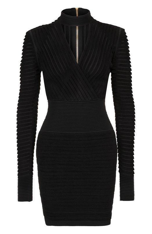 Купить Приталенное мини-платье на молнии Balmain, 143586/K074, Италия, Черный, Вискоза: 76%; Полиамид: 24%;