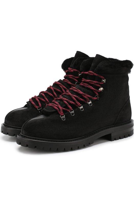Купить Замшевые ботинки Valentino Garavani Trekking с внутренней отделкой из овчины Valentino, QW2S0I36/EAY, Италия, Черный, Подкладка-мех/овчина/: 100%; Подошва-полимер: 100%; Кожа: 100%;