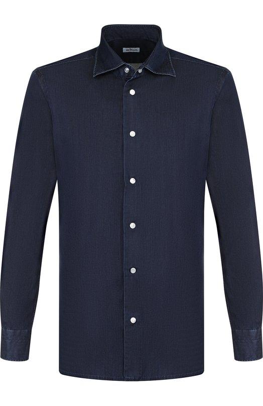 Купить Хлопковая рубашка с воротником кент Kiton, UMCNERCH0642501, Италия, Темно-синий, Хлопок: 100%;