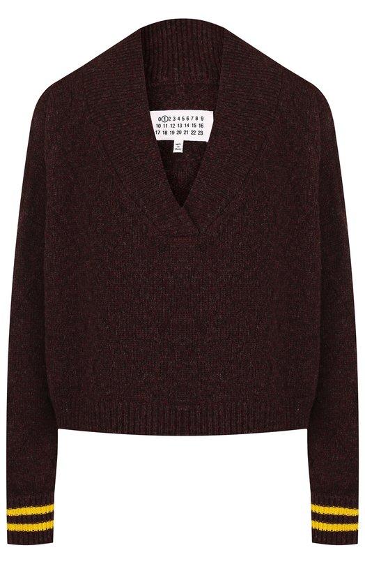 Купить Шерстяной пуловер с V-образным вырезом Maison Margiela, S51HA0845/S16424, Италия, Бордовый, Шерсть: 98%; Полипропилен: 2%;