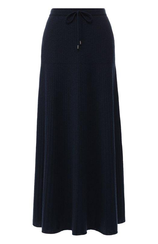 Кашемировая юбка-миди с эластичным поясом Loro Piana, FAI1801, Италия, Темно-синий, Кашемир: 100%;  - купить