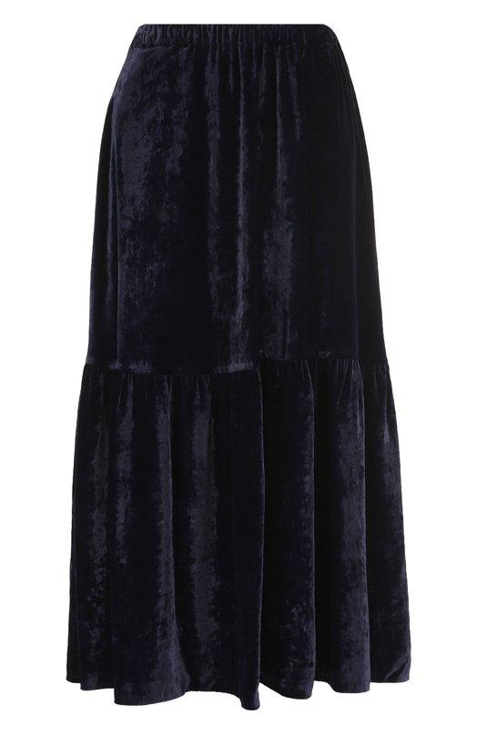 Купить Бархатная юбка-миди с оборкой Stella McCartney, 529479/SJB87, Венгрия, Темно-синий, Вискоза: 82%; Шелк: 18%;