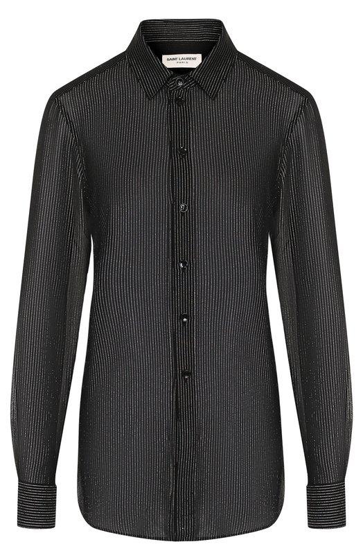 Шелковая блуза в полоску Saint Laurent, 395733/Y059J, Италия, Черный, Шелк: 96%; Полиэстер: 4%;  - купить