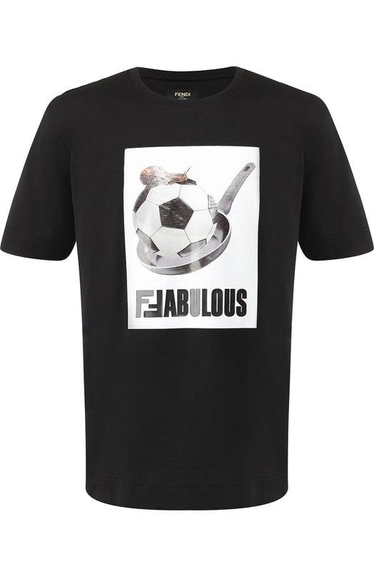 Хлопковая футболка с принтом Fendi, FY0889 A4PI, Италия, Черно-белый, Хлопок: 100%;  - купить