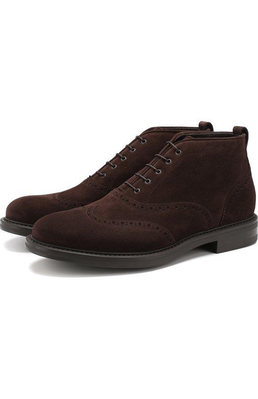 Кожаные ботинки на шнуровке W.Gibbs, 3169015/VEL0UR, Италия, Темно-коричневый, Подошва-Резина: 100%; Подкладка-Кожа: 100%; Кожа: 100%;  - купить