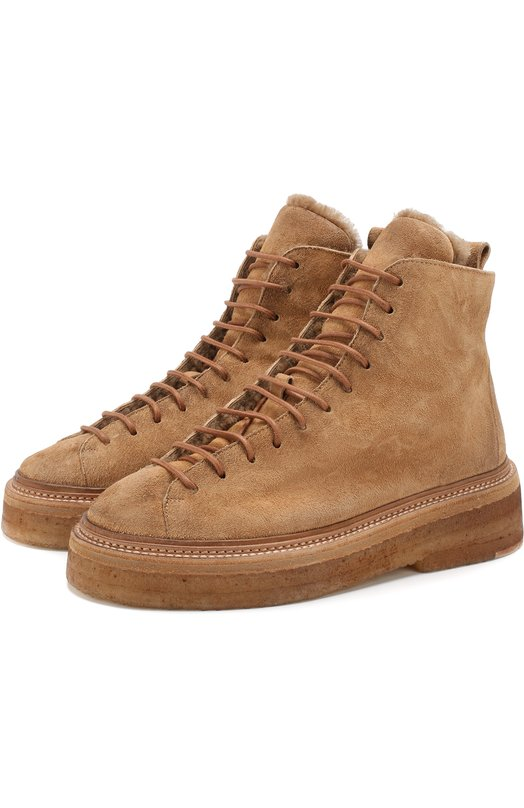 Купить Замшевые ботинки с внутренней отделкой из овчины Marsell, MW5117/DR0M R0VESCI0, Италия, Коричневый, Подошва-резина: 100%; Подкладка-мех/овчина/: 100%; Кожа: 100%;