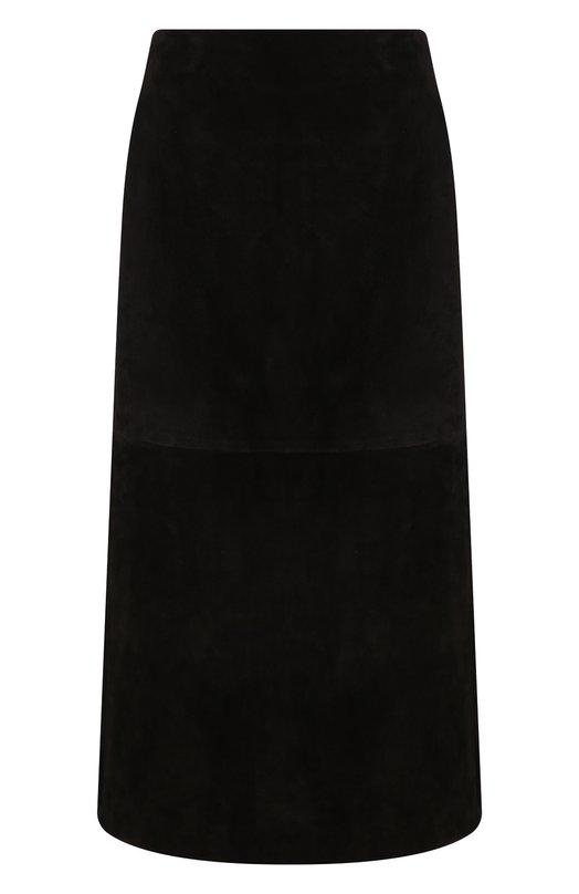 Купить Замшевая юбка-миди с карманами Saint Laurent, 529377/YC2AY, Италия, Черный, Кожа: 100%;