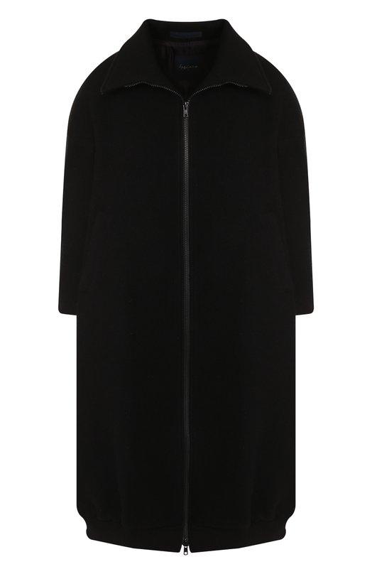 Купить Шерстяное пальто с укороченным рукавом Yohji Yamamoto, FI-C52-101, Япония, Черный, Шерсть: 70%; Полиамид: 5%; Акрил: 5%; Полиэстер: 20%;