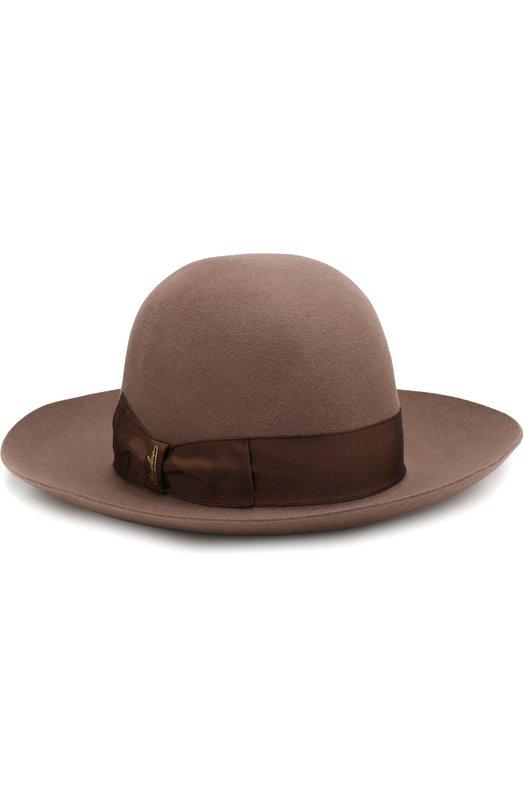 Купить Фетровая шляпа с лентой Borsalino, 212993, Италия, Светло-коричневый, Шерсть кролика: 100%; Фетр/кролик/: 100%;