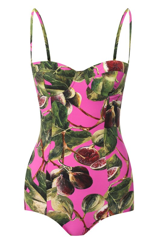 Купить Слитный купальник с принтом Dolce & Gabbana, 09A13J/FSG0T, Италия, Фуксия, Полиамид: 75%; Эластан: 25%;