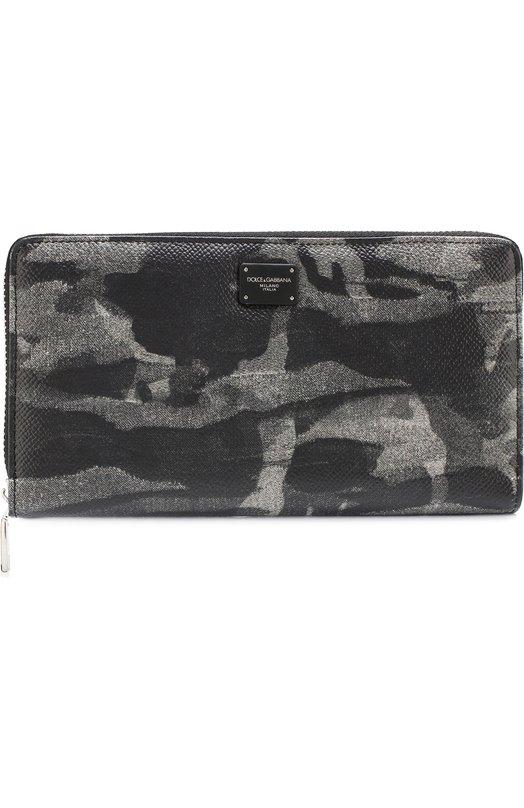 Купить Кожаное портмоне на молнии Dolce & Gabbana, BP1672/AV691, Италия, Темно-серый, Кожа: 100%;