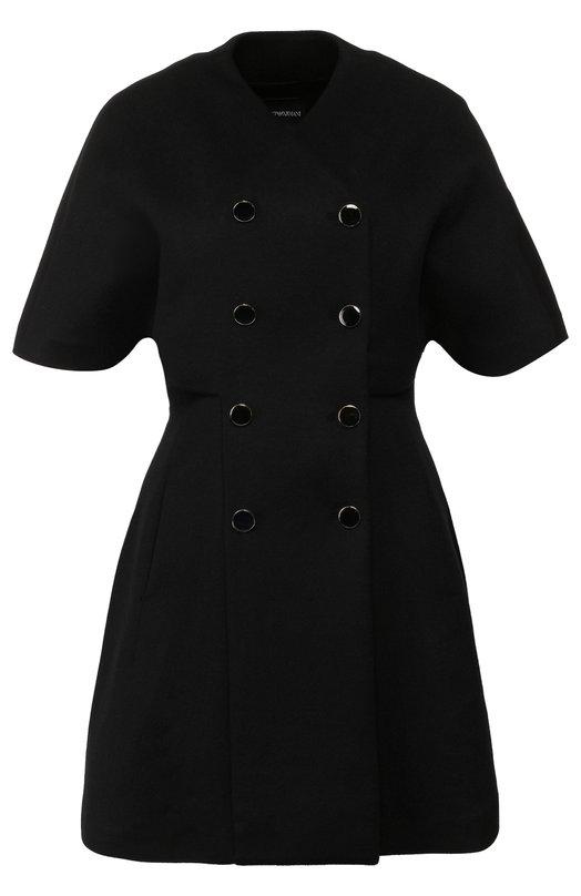 Шерстяное пальто с укороченным рукавом Emporio Armani