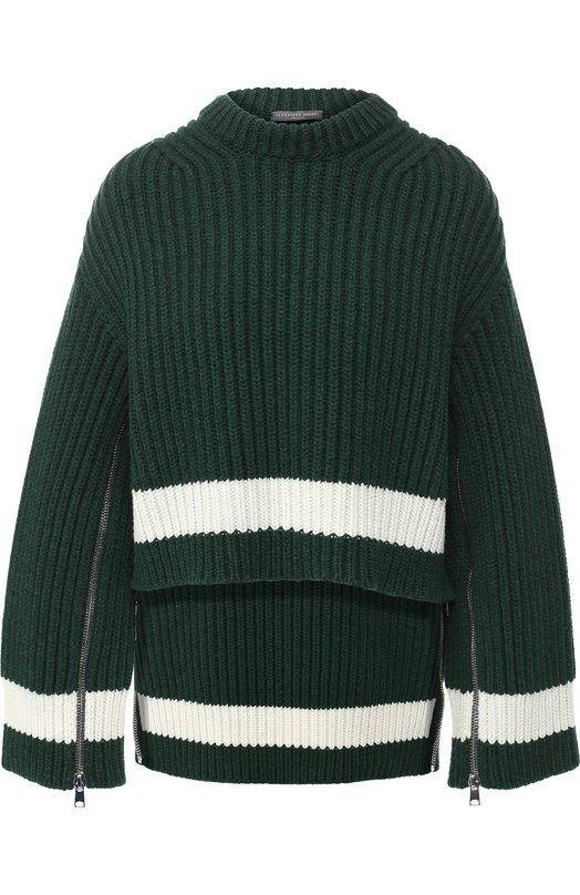 Купить Вязаный пуловер из смеси шерсти и кашемира Alexander McQueen, 543180/Q1RQW, Италия, Зеленый, Шерсть: 70%; Кашемир: 30%;