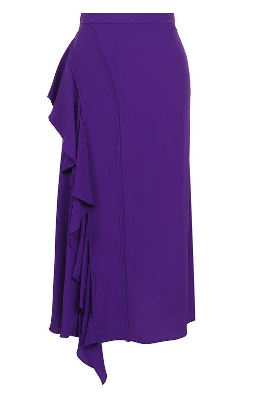 Купить Однотонная юбка-миди с оборками No. 21, 18I N2M0/C131/5111, Италия, Фиолетовый, Ацетат: 69%; Шелк: 31%;