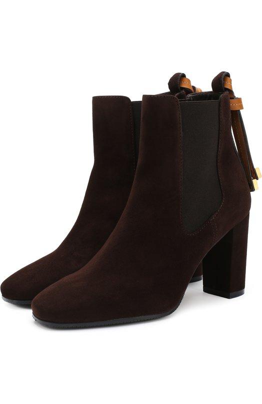 Купить Ботильоны из эко-кожи на устойчивом каблуке Stuart Weitzman, YL98821, Испания, Коричневый, Подошва-резина: 100%; Подкладка-кожа: 100%; Полимер: 100%;