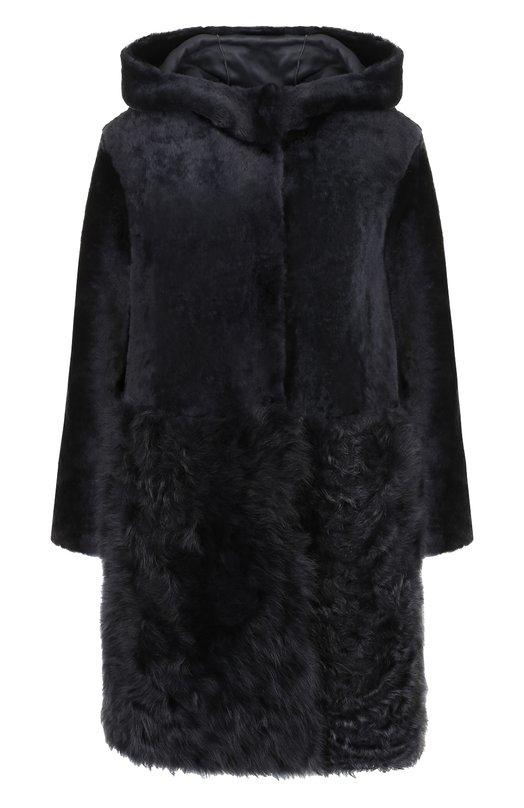 Купить Меховое пальто из овчины DROMe, DPD5326P/D1352, Италия, Темно-синий, Мех натуральный: 100%;