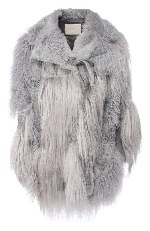 Купить Меховое пальто из овчины DROMe, DPD5519P/D1348, Италия, Серый, Подкладка-вискоза: 57%; Подкладка-полибутилен: 43%; Мех натуральный: 100%;