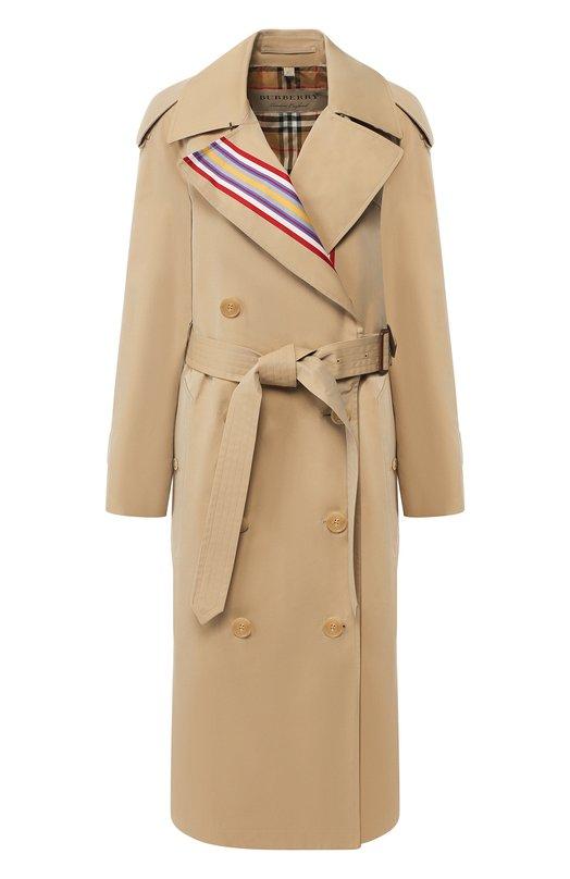 Двубортное хлопковое пальто с поясом Burberry Burberry