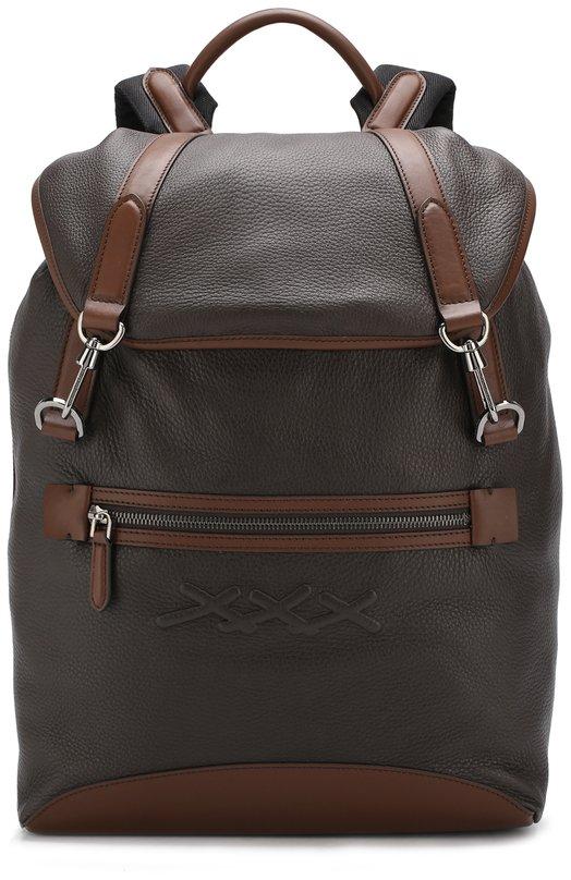 Купить Кожаный рюкзак с внешним карманом на молнии Zegna Couture, C1379L-LUX, Италия, Коричневый, Кожа: 100%;