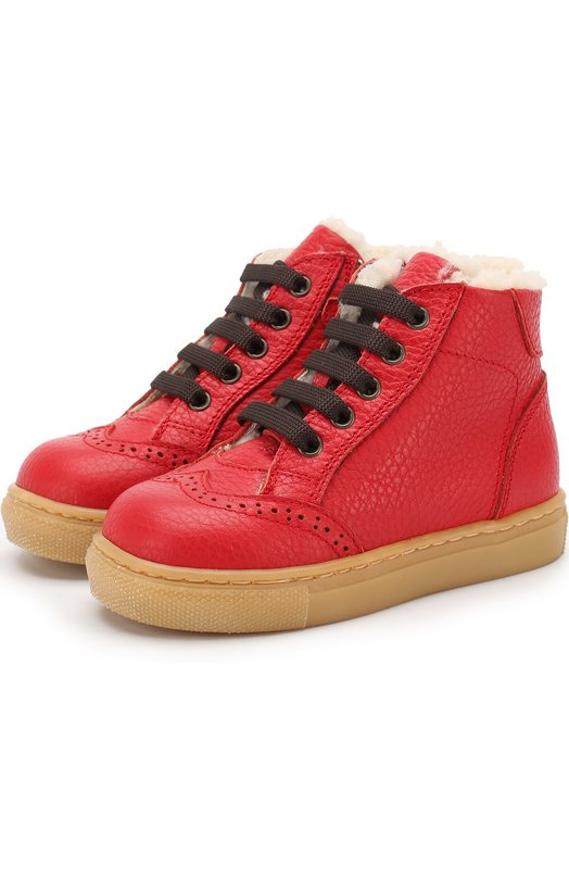 Купить Кожаные ботинки с внутренней меховой отделкой Gallucci, T00485BM/SC S S G0M ALC, Италия, Красный, Подошва-резина: 100%; Подкладка-мех/овчина/: 100%; Кожа: 100%;
