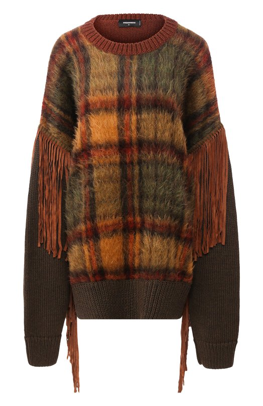 Купить Пуловер свободного кроя с бахромой Dsquared2, S72HA0792/S16479, Италия, Разноцветный, Шерсть: 36%; Ацетат: 22%; Мохер: 18%; Полиэстер: 12%; Полиамид: 12%;