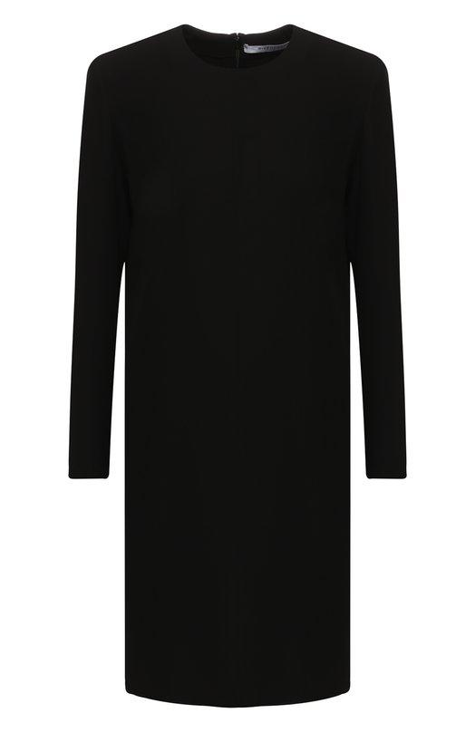 Купить Однотонное мини-платье прямого кроя с круглым вырезом Givenchy, BW209C10F4, Италия, Черный, Вискоза: 56%; Ацетат: 42%;