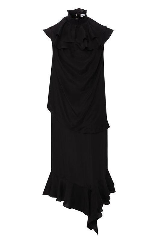 Купить Шелковое платье-миди с оборками J.W. Anderson, DR05818D 309/999, Польша, Черный, Шелк: 100%;
