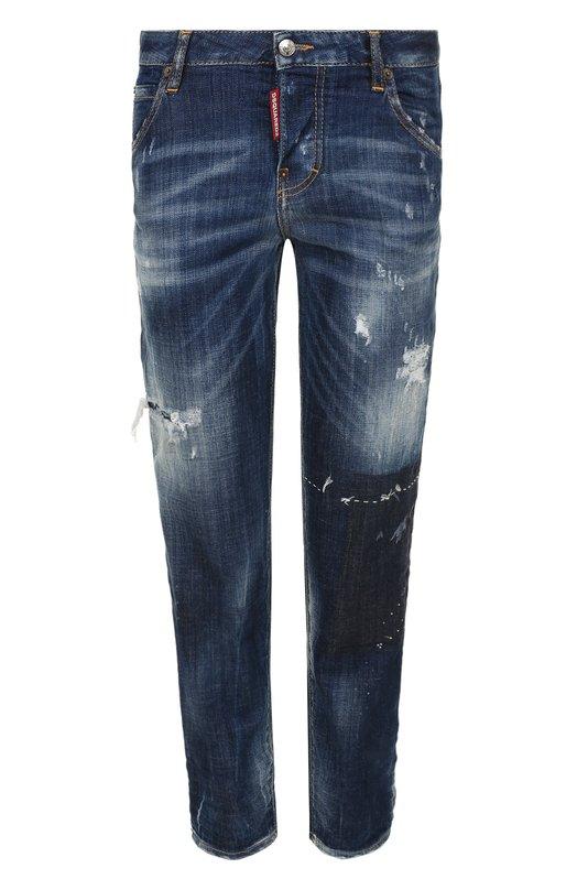 Купить Укороченные джинсы с потертостями Dsquared2, S72LB0111/S30342, Италия, Голубой, Хлопок: 98%; Эластан: 2%;