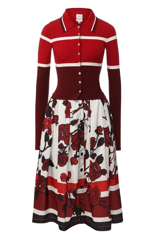 Купить Платье-миди с принтом sara roka, LUMAR/FW18-44, Италия, Красный, Вискоза: 70%; Полиэстер: 30%;
