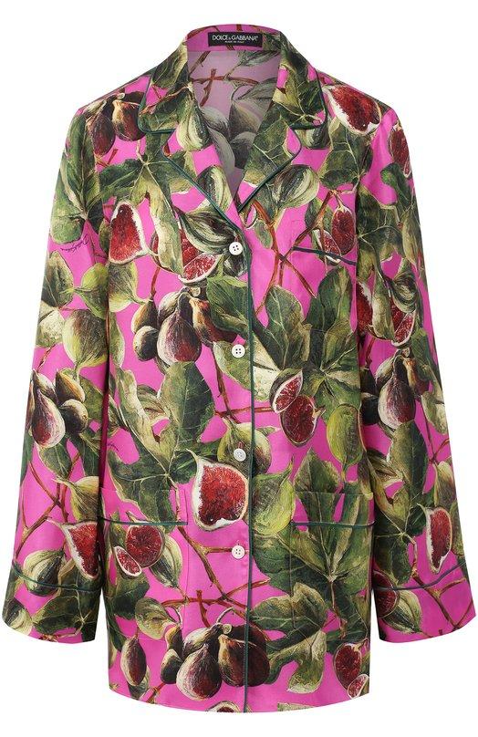 Купить Шелковая блуза с принтом Dolce & Gabbana, F5H06T/HS1JV, Италия, Розовый, Шелк: 100%;