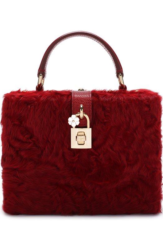 Купить Сумка Dolce Box с меховой отделкой Dolce & Gabbana, BB5970/AV181, Италия, Красный, Мех/овчина/: 90%; Кожа: 10%;