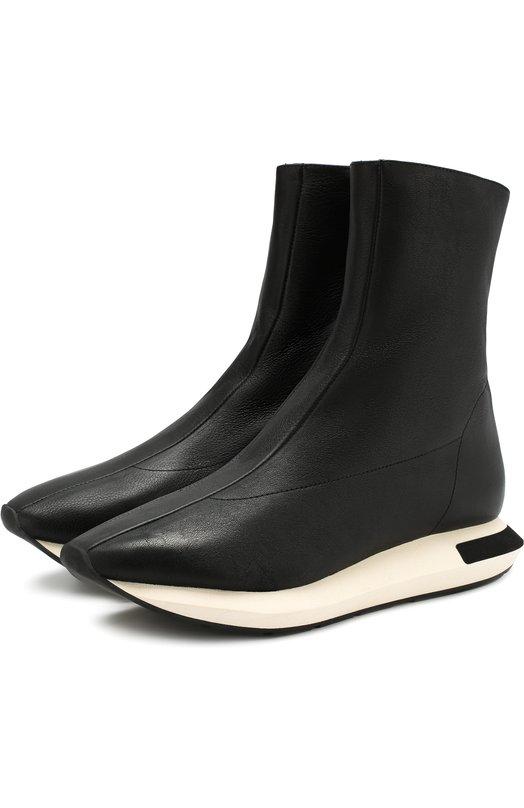Купить Высокие кожаные кроссовки на контрастной подошве Manuel Barcelo, ESTELA-GL NAPA, Испания, Черный, Подошва-резина: 100%; Подкладка-кожа: 100%; Кожа: 100%;