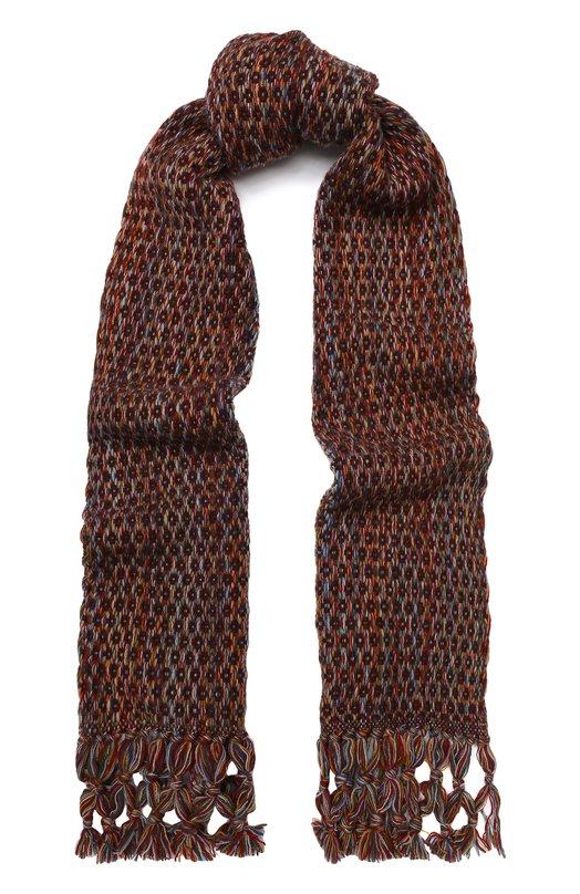Купить Кашемировый шарф фактурной вязки с бахромой Loro Piana, FAI3188, Италия, Бордовый, Кашемир: 100%;