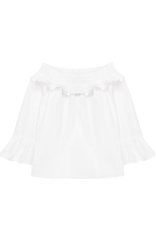Купить Хлопковая блуза с открытыми плечами Polo Ralph Lauren, 311691371, Индонезия, Белый, Хлопок: 100%;
