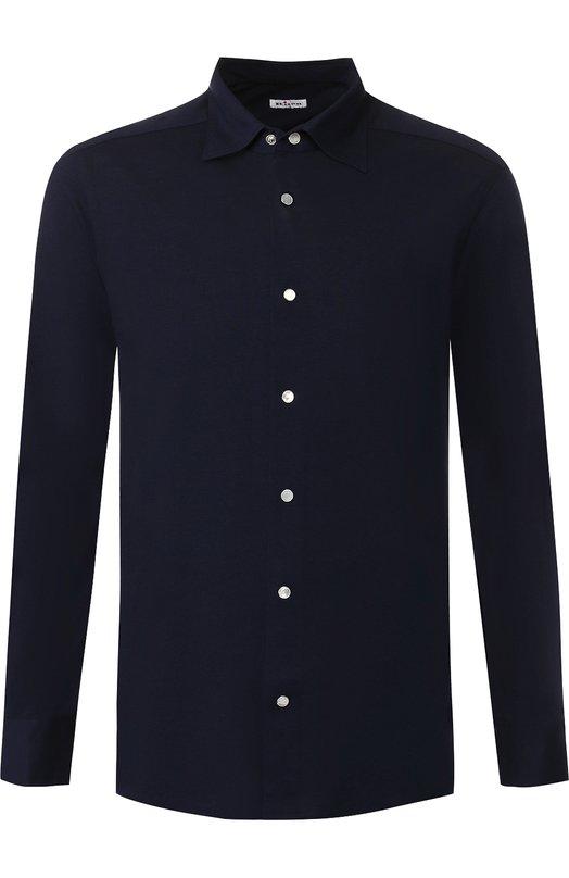 Купить Хлопковая рубашка с воротником кент Kiton, UMCNERCH0654416, Италия, Темно-синий, Хлопок: 100%;
