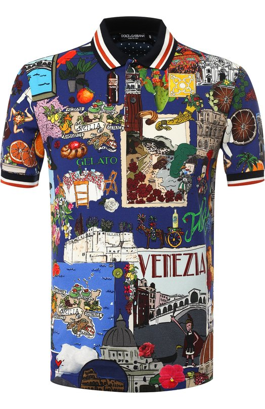 Купить Поло из смеси хлопка и шелка с короткими рукавами Dolce & Gabbana, G8IW8T/FS71M, Италия, Разноцветный, Хлопок: 95%; Шелк: 5%;