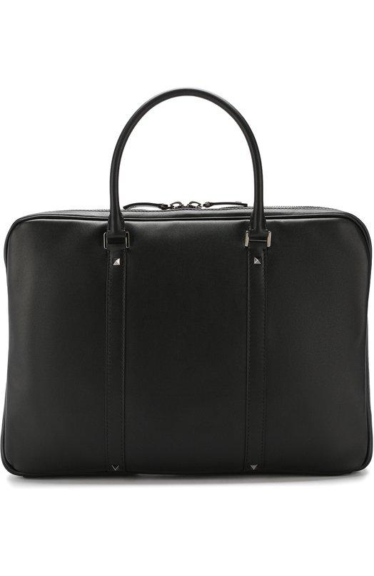 Купить Кожаная сумка для ноутбука Valentino Garavani Rockstud с плечевым ремнем Valentino, QY2B0636/VH3, Италия, Черный, Кожа: 100%;
