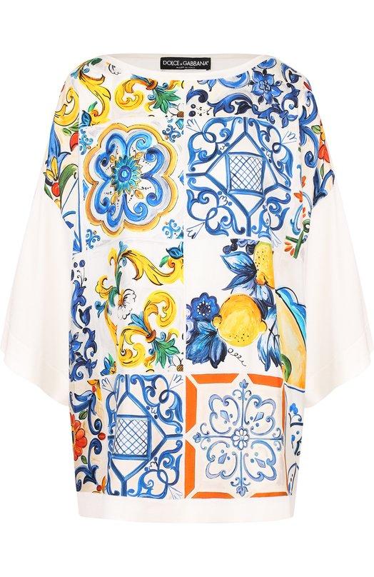 Купить Шелковый пуловер с принтом Dolce & Gabbana, FX192T/JASDZ, Италия, Разноцветный, Шелк: 100%;