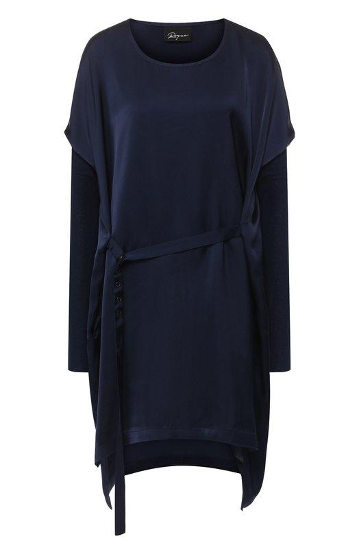 Купить Однотонное платье с поясом Roque, RIAY900/9, Италия, Темно-синий, Вискоза: 100%;