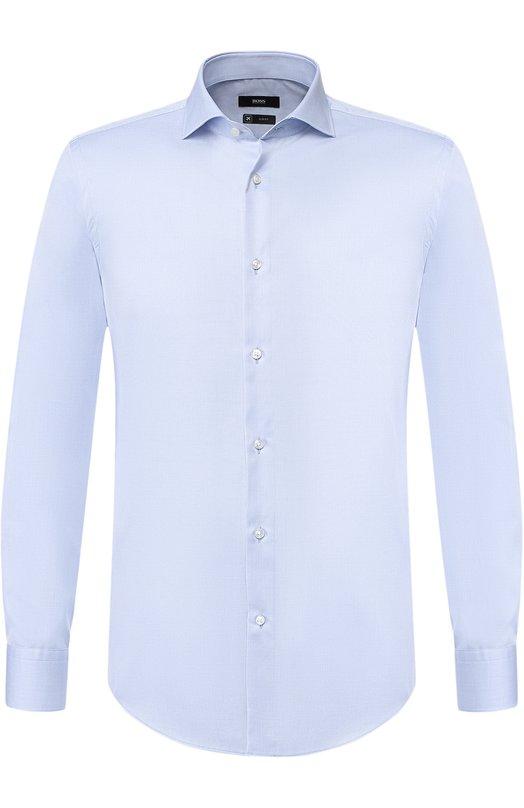 Хлопковая сорочка с воротником акула BOSS, 50393234, Турция, Голубой, Хлопок: 100%;  - купить