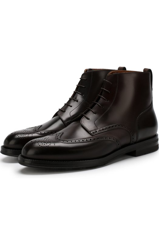 Купить Кожаные высокие ботинки на шнуровке с брогированием W.Gibbs, 0639024/C0RD0VAN, Италия, Темно-коричневый, Подошва-Резина: 100%; Подкладка-Кожа: 100%; Кожа: 100%;