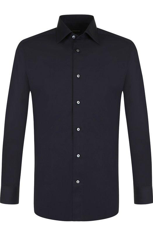Купить Хлопковая сорочка с воротником кент Ermenegildo Zegna, 401070/9MS0BR, Турция, Темно-синий, Хлопок: 100%;