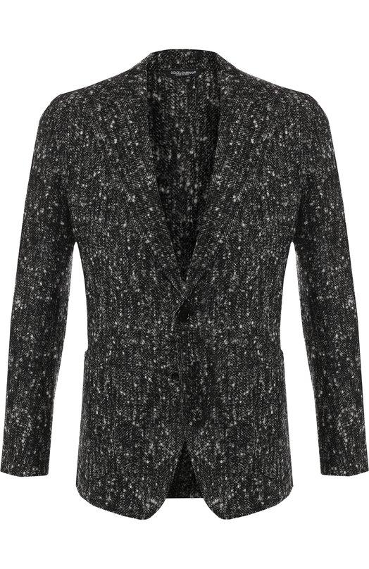 Купить Однобортный пиджак из шерсти Dolce & Gabbana, G2MB7T/FCMCI, Италия, Серый, Шерсть: 70%; Шерсть альпака: 20%; Полиамид: 10%;