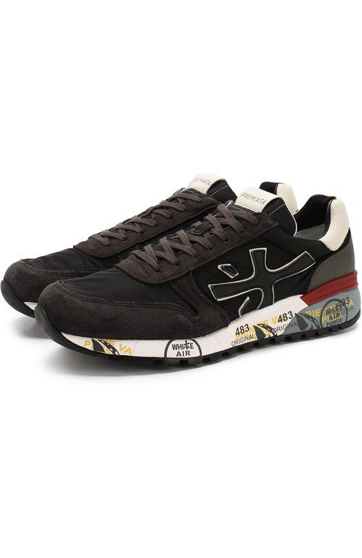 Купить Комбинированные кроссовки Mick на шнуровке Premiata, MICK/VAR2343, Вьетнам, Темно-серый, Текстиль: 60%; Замша натуральная: 40%; Подкладка-Кожа: 100%; Стелька-Кожа: 100%; Подошва-Резина: 100%;