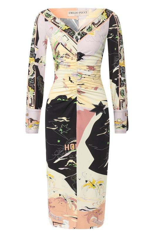 Купить Платье-миди с драпировкой и принтом Emilio Pucci, 8UJG26/8U724, Италия, Разноцветный, Вискоза: 83%; Шелк: 17%;