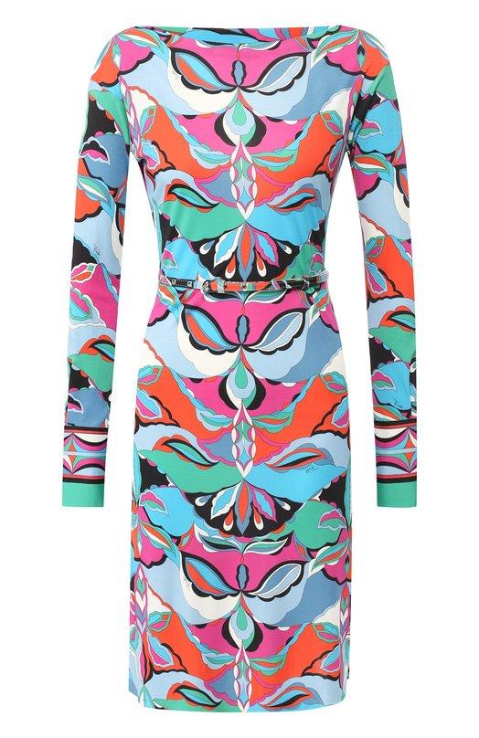 Купить Платье с поясом и принтом Emilio Pucci, 8UJG53/8U744, Румыния, Разноцветный, Вискоза: 83%; Шелк: 17%;
