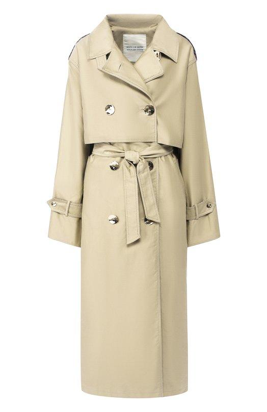 Купить Двубортное хлопковое пальто с поясом Walk of Shame, CT002-PF18, Россия, Бежевый, Хлопок: 100%;