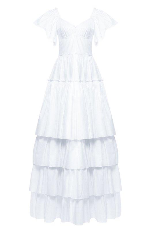 Купить Хлопковое платье-макси с оборками Dolce & Gabbana, F6A70T/FU5GK, Италия, Белый, Хлопок: 90%; Полиамид: 9%; Эластан: 1%;