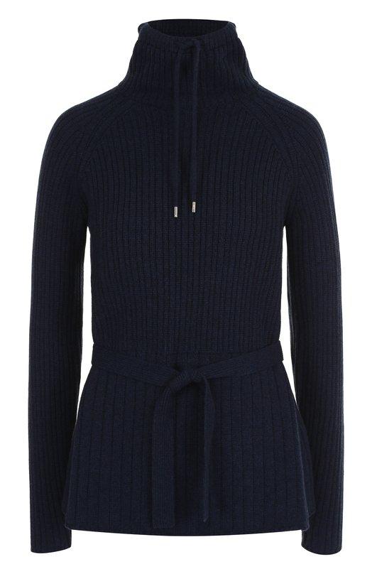 Купить Кашемировый пуловер с поясом и воротником-стойкой Loro Piana, FAI1798, Италия, Темно-синий, Кашемир: 100%;