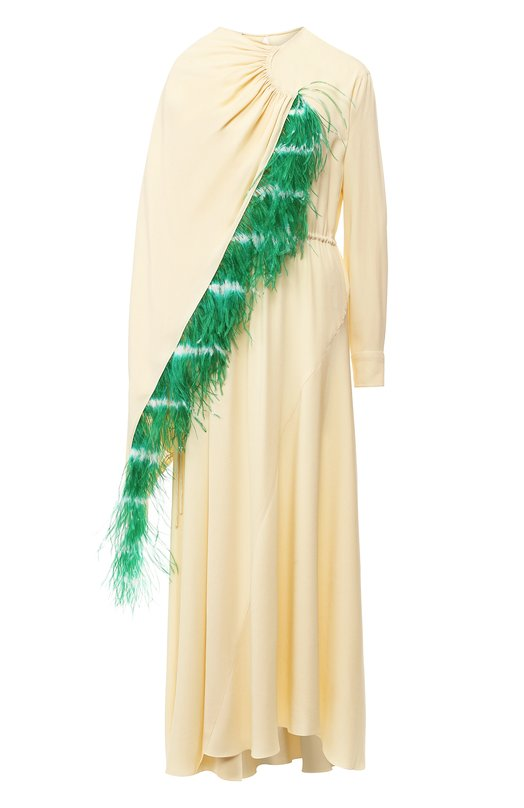 Купить Платье-миди асимметричного кроя с перьевой отделкой Dries Van Noten, 182-11028-6186, Италия, Кремовый, Вискоза: 61%; Ацетат: 39%;